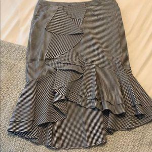 Intermix black & white gingham ruffled skirt
